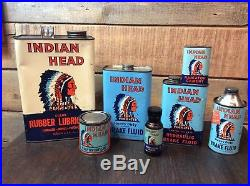 Indian Head Oil Cans Lot 7pc Rare Collectible Vintage Oil Cans Lot