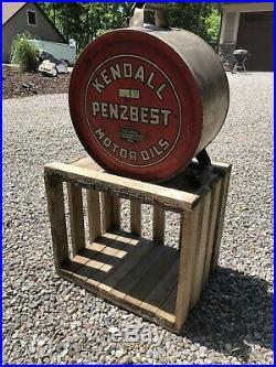 Kendall Penzbest Motor Oil 5 Gallon Rocker Can Original Vintage Antique