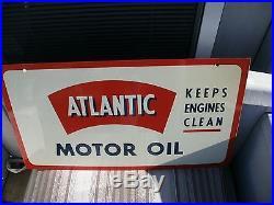L@@@@k Vintage 1950 Atlantic Motor Oil Aviation Oil Porcelain 2 Sided Sign Mint