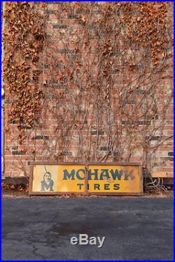 Large Original Vintage Mohawk Tires Sign, 1930s Gas And Oil Advertising Sign