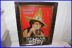 Large Rare Vintage c. 1910 Helmar Cigarettes Tobacco Gas Oil 28 Metal Sign