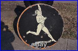 Large Vintage 1920's Marathon Gas Station Oil 2 Sided 36 Porcelain Metal Sign