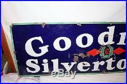 Large Vintage 1930's Goodrich Silvertowns Tires Gas Oil 58 Porcelain Metal Sign