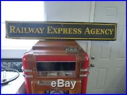 Large Vintage 1930's Railway Express Agency Gas Oil 72 Metal Porcelain Sign