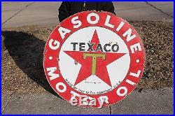Large Vintage 1930's Texaco Gasoline Motor Oil 2 Sided 42 Porcelain Metal Sign