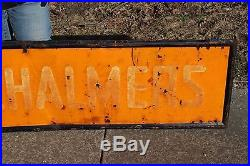 Large Vintage 1940's Allis-Chalmers Tractor Farm Gas Oil 72 Embossed Metal Sign