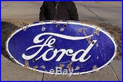 Large Vintage 1940's Ford Car Dealership Gas Oil 73 Porcelain Neon Metal Sign