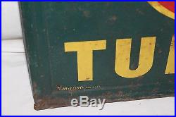 Large Vintage 1940's Inland Tires Tubes Gas Station Oil 53 Embossed Metal Sign