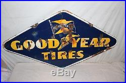 Large Vintage 1946 Goodyear Tires Tire Gas Station Oil 48 Porcelain Metal Sign