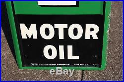 Large Vintage 1947 Quaker State Motor Oil Gas Station 72 Embossed Metal Sign