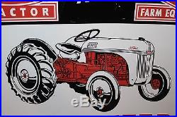Large Vintage 1950's Ford Tractor Dearborn Farm Gas Oil 36 Embossed Metal Sign
