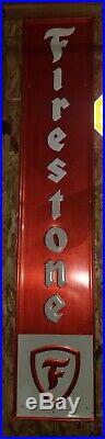 Large Vintage 1953 Firestone Tires Gas Station Oil 72 Embossed Metal Sign