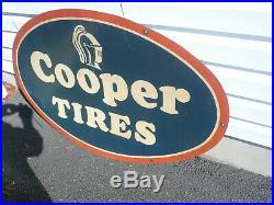 Large Vintage 1960's 70's Cooper Tires Service Gas Oil 30 x 48 Metal Sign