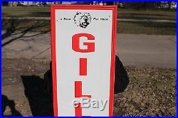 Large Vintage 1962 Gillette Tires Tire Gas Station Oil 60 Embossed Metal Sign