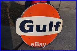 Large Vintage 1968 Gulf Gas Station Gasoline Motor Oil 47 Metal Sign