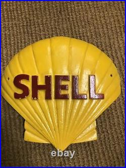 Large Vintage Cast Iron Shell Motor Oil Hand Painted Advertising Sign