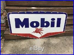 Large Vintage Mobil Oil Double Sided Porcelain Sign