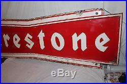 Large Vintage c. 1960 Firestone Tires Tire Gas Station Oil 72 Metal Sign