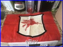 MINT VINTAGE 1950's MOBIL OIL WITH FLYING RED HORSE Banner/Flag Pegasus
