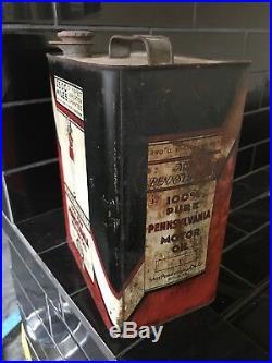 MISS PENNSYLVANIA 2500 MILES 2 Gallon Vintage MOtor Oil Tin Can RARE
