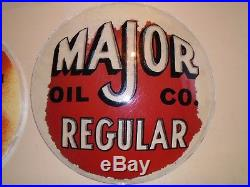 Major Oil co. Regular ethyl glass pair of pump gas lenses globe vintage