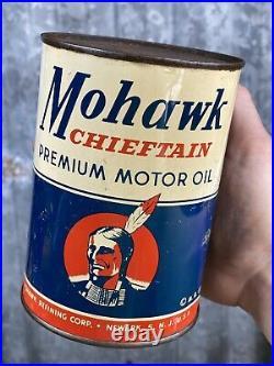 Mohawk Chieftain Premium Quart Motor Oil Can Newark New Jersey Vintage Metal