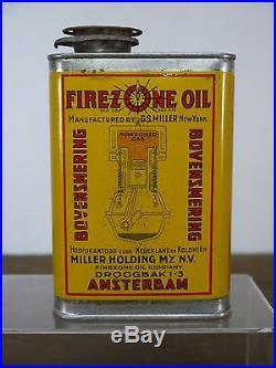 Near Mint Vintage Firezone Oil Tin G. S. Miller Lubricant Golden Fleece H. C. Sleigh