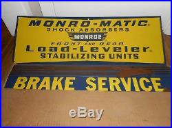NOS Vintage MONROE Shocks Load Levelers Sign Set in ORIGINAL BOX GAS OIL STATION