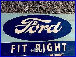 OLD RARE Original Vintage 1940S GENUINE FORD FAN BELT GAS OIL METAL DISPLAY SIGN