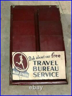 ORIGINAL VinTagE MARATHON TRAVEL BUREAU SERVICE MAP RACK Gas SIGN OLD OIL RARE