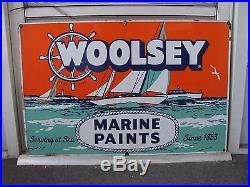 Old Vintage Porcelain Woolsey Marine Paints Co Advertising Enamel Sign Gas & Oil