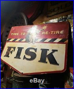 Old vintage fisk tire sign gas oil garage rare