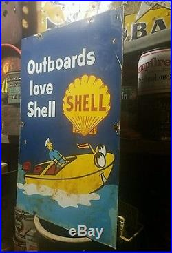 Old vintage porcelain double sided shell boat gas oil Johnson evinrude sign rare