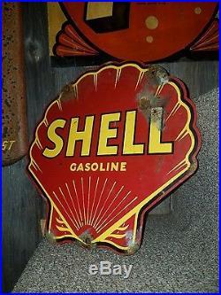 Old vintage porcelain enameled steel shell gas sign oil garage rare