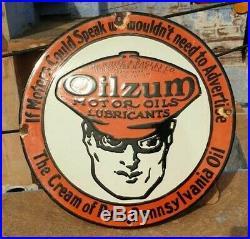 Original 1930's Old Antique Vintage Very Rare Oilzum Oil Porcelain Enamel Sign