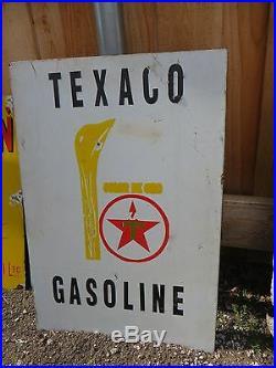 Original 1930s Vintage Sign Texaco Motor Oil Double Sided Porcelain 19x27