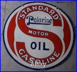 Original 42 Porcelain Sign Standard Polarine Motor Oil Gasoline Vintage 2 sided