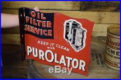 Original PUROLATOR FILTERS AIR OIL FUEL GAS SERVICE STATION SIGN VINTAGE 1940's