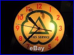 Original Pam Clock Cities Service Gas & Oil Station Advertising Sign Vintage