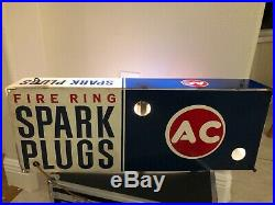 Original Vintage 1960's AC Spark Plugs Chevrolet 24 Lighted Clock Gas Oil Sign