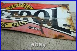 Original Vintage Enamel Sign Castrol Wakefield Oil Bottle Stand Service Station