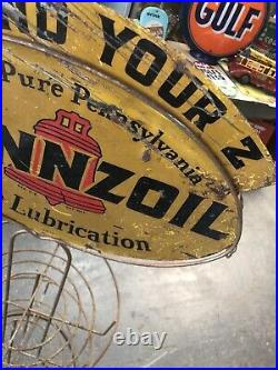 Original Vintage Pennzoil Oil Display Can Rack Double Sided Sign Gas Garage Car