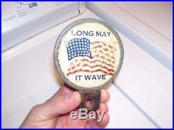 Original vintage 40s WW2 Flag star wave license plate topper gm auto parts amc