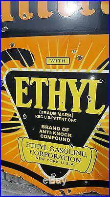PHILLIPS 66 Ethyl Burst 2-Sided Porcelain Sign DSP Badge Gas Oil Auto Vintage