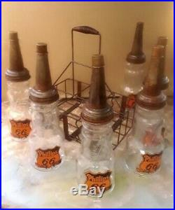 PHILLIPS 66 VINTAGE 6 GLASS MOTOR OIL GAS STATION BOTTLES w SPOUTS CAPS & RACK