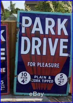 Park drive enamel sign advertising cigarette vintage shop petrol can oil cards