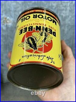 Penn Bee Quart Motor Oil Can Elk City Oklahoma Thermoil Vintage Metal