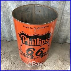 Phillips 66 Five Quart Oil Can Metal Vintage Bartlesville OK Vintage