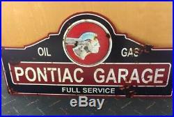 Pontiac Garage Full Service Oil Gas Steel Sign 23 x 11 Choose New Vintage