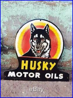 Porcelain 1940's Husky Motor Oils x3 Vintage Enamel Sign 17x16 Rare